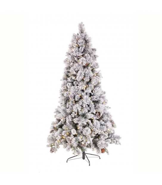 Snowy and Glittered Xmas Tree h 210 w/lights