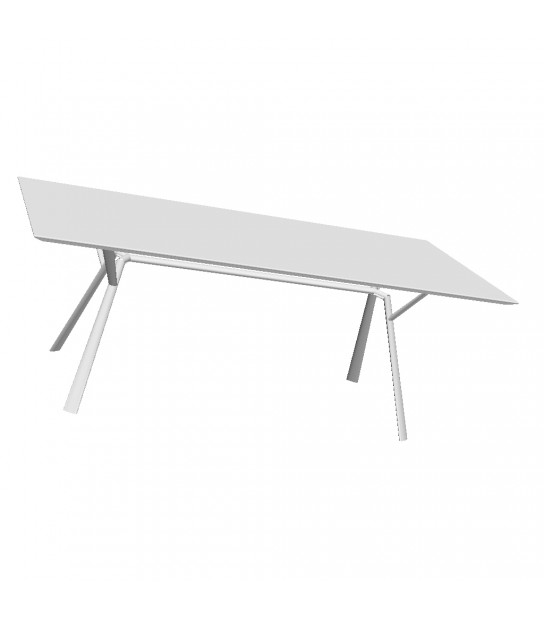 Aluminium Rectangular Table Radice Quadra 200x90 bianco