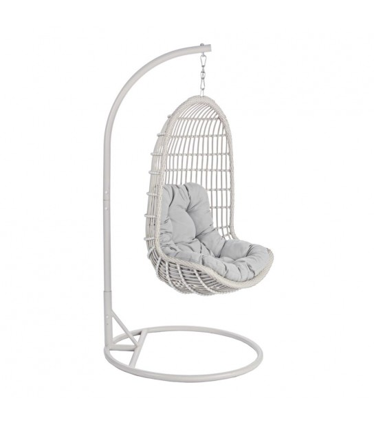 Hanging Chair in Synthetic fiber Ivory w/stand particular