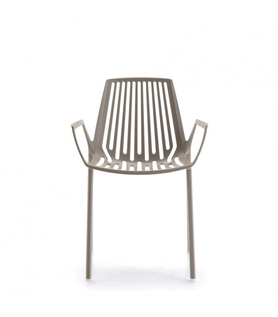 Rion Stackable Chair with arms in Painted Aluminium
