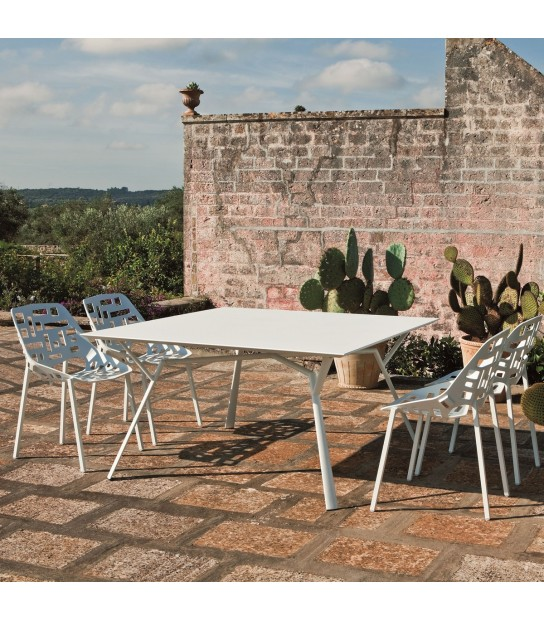 Aluminium Square Table Radice Quadra 140x140 white