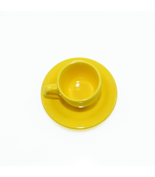 Stoneware Coffee cup with small plate in Yellow