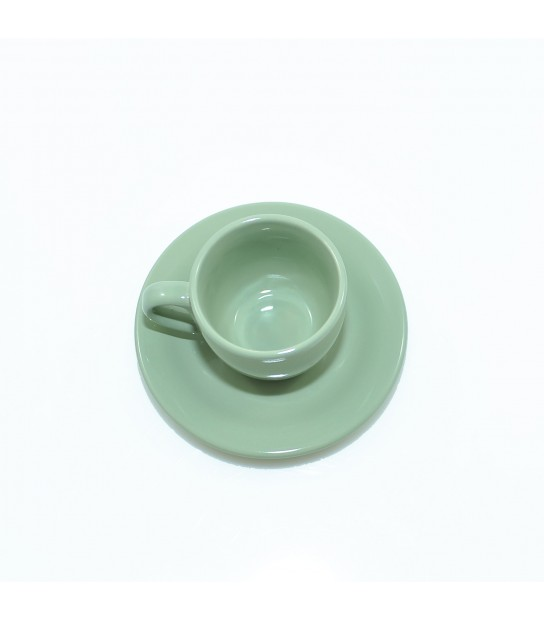 Stoneware Coffee cup with small plate in Panarea Green