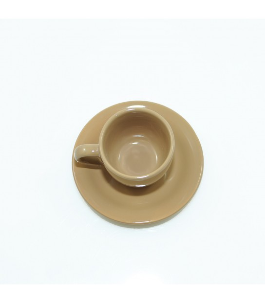 Stoneware Coffee cup with small plate in Brown Timbuctu'