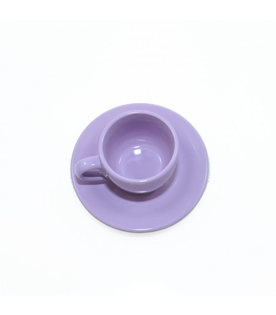 Stoneware Coffee cup with small plate in Provenzal Purple