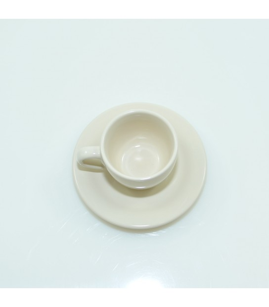 Stoneware Coffee cup with small plate in Cream