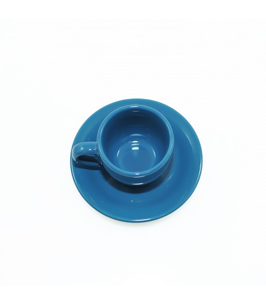 Stoneware Coffee cup with small plate in Blue Navy