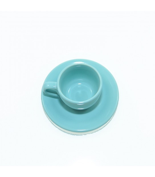 Stoneware Coffee cup with small plate in Andaman Azure