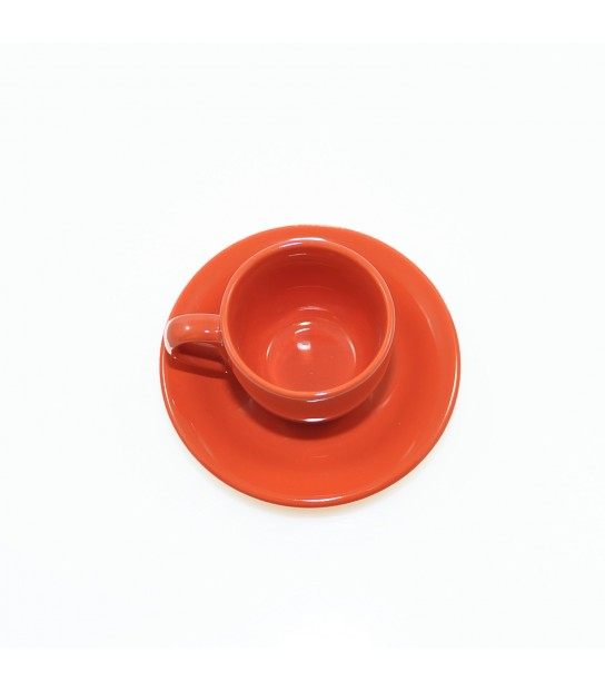 Stoneware Coffee cup with small plate in Coral Red